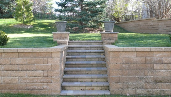 Steps through walls with pillar top in Bloomington