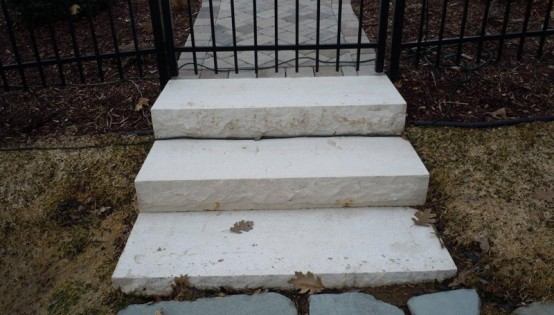 Waukesha White Natural Stone Steps