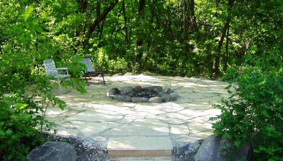 Kasota Stone Patio with a FIre Pit