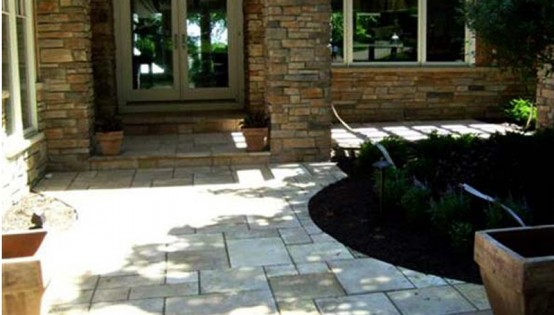 Patterned Highland Brownstone walk and patio in St Louis Park