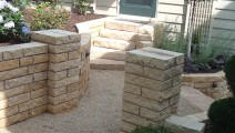 Kasota Stone Pillars and Walls in St Paul