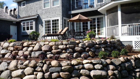 Multi Tier Boulder Wall in Orono