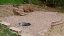 Maple Grove Borgert Harvest Blend Pavers with a Fire Pit