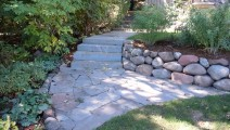 Bluestone steps, bluestone walk, and planting in Edina