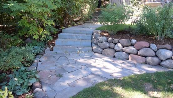 Bluestone steps, bluestone walk, and planting in Edina