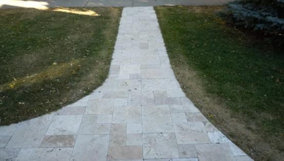 Travertine Sidewalk in Minneapolis