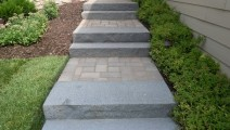 Paver walk with Granite steps in Plymouth