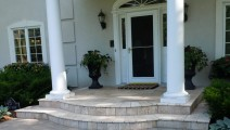 Travertine veneer of entry in Wayzata