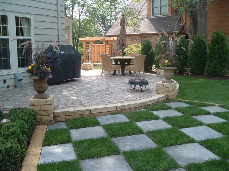 ... Belgard Paver Patio with Kasota stone wall and Bluestone in St. Paul ... - Paver Patios Minnesota Outdoor Solutions